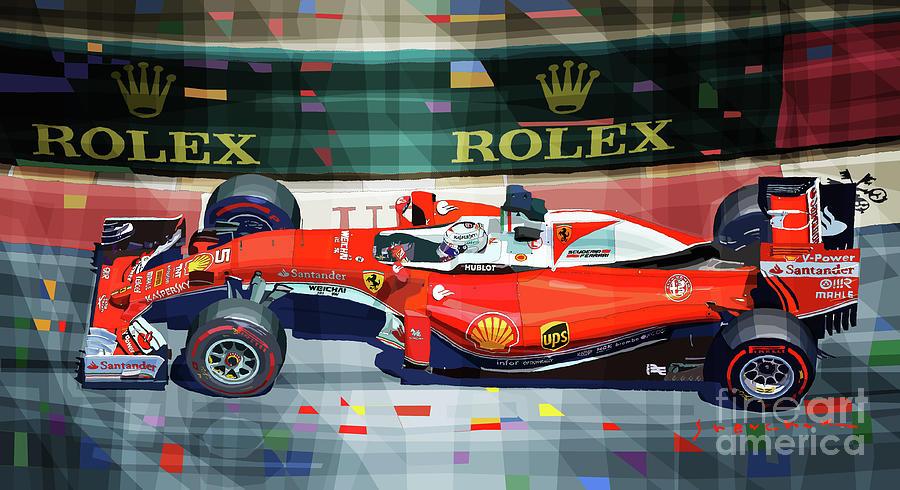 Automotive Mixed Media - 2016 Ferrari Sf16-h Vettel Monaco Gp  by Yuriy Shevchuk