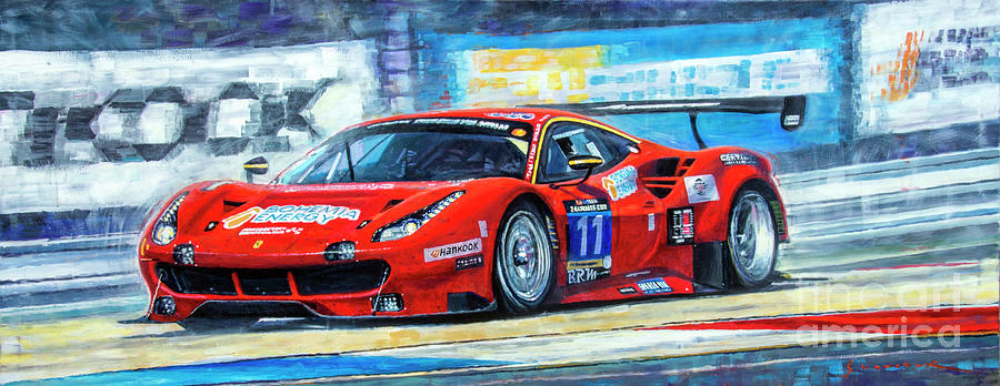 Automotive Painting - 2016 Hankook 24h Epilog Brno Ferrari 488 Gt3 Winner by Yuriy Shevchuk