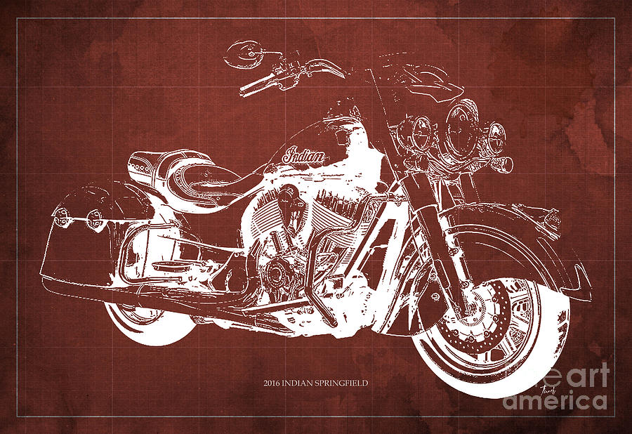 2016 Painting - 2016 Indian Blueprint by Drawspots Illustrations