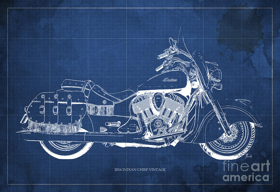 2016 indian chief vintage motorcycle blueprint blue background 2016 painting 2016 indian chief vintage motorcycle blueprint blue background by pablo franchi malvernweather Gallery