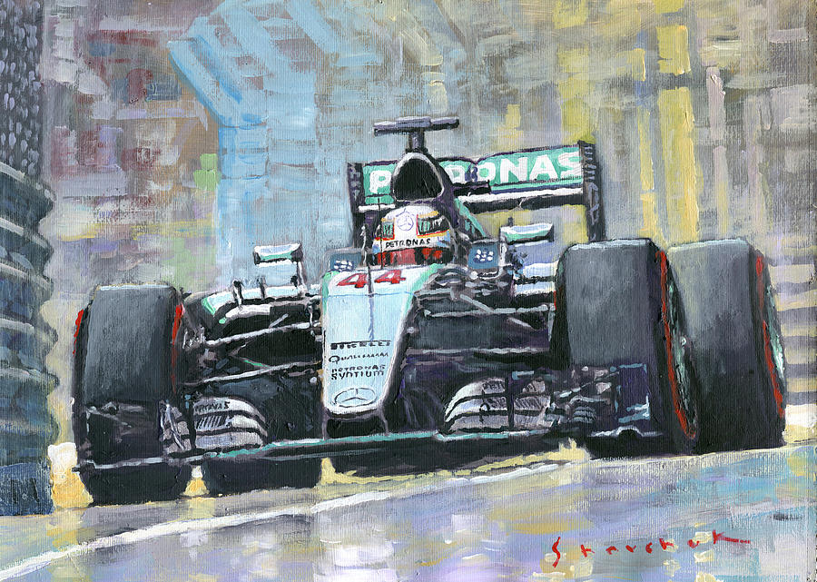 Automotive Painting - 2016 Monaco Gp Mercedes Amg Petronas Hamilton  by Yuriy Shevchuk