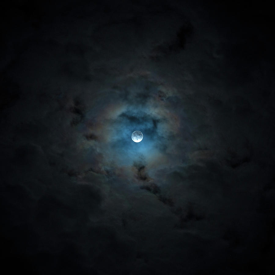 Moon Photograph - 2016 Super Moon Behind Clouds by Will Leffert