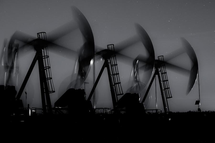 Oil And Gas Photograph - 2016_12_midland Tx_midnight Pump Jacks 1 by Brian Farmer