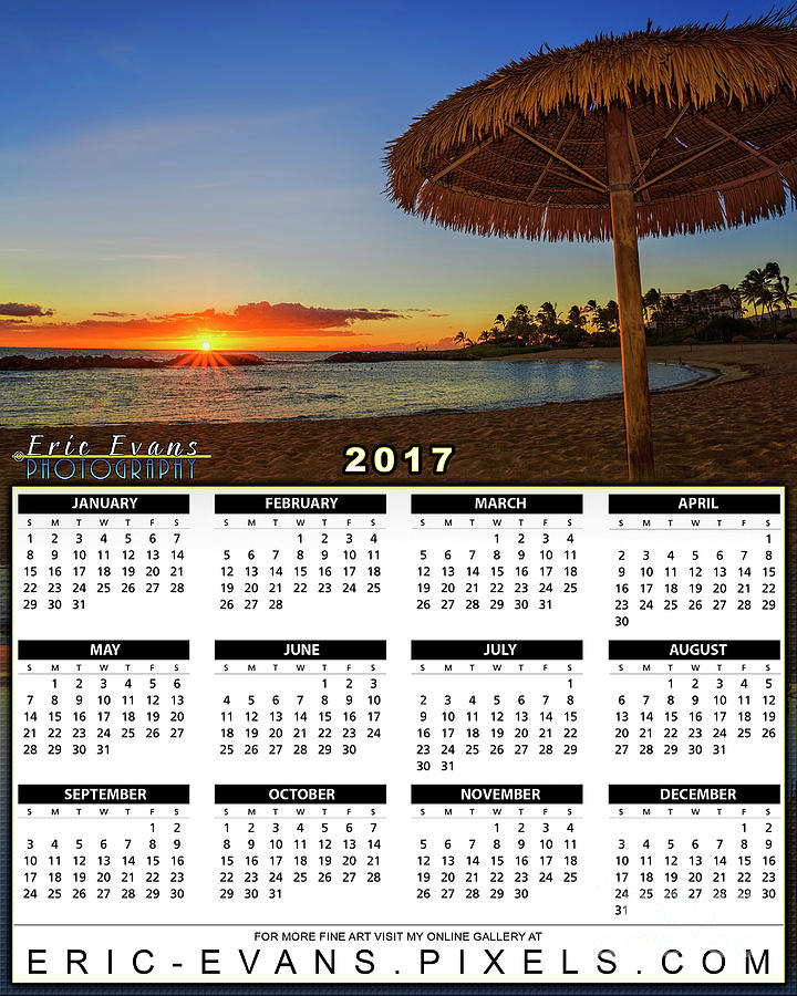 2017 Calendar Sunset Under A Bamboo Umbrella In Hawaii Photograph By