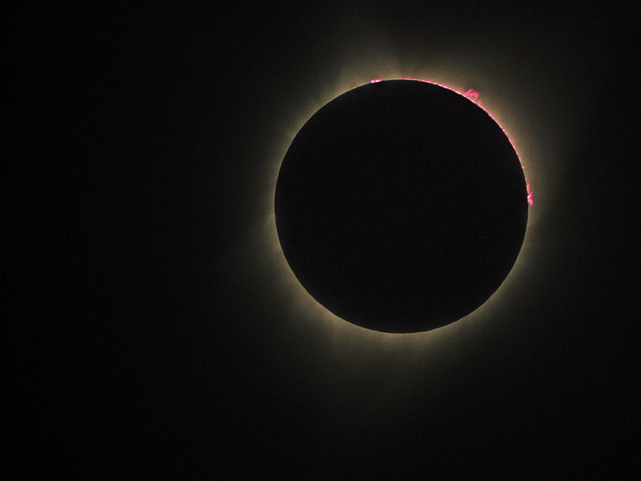 Depoe Bay Photograph - 2017 Eclipse Red Prominence by Mike Herdering