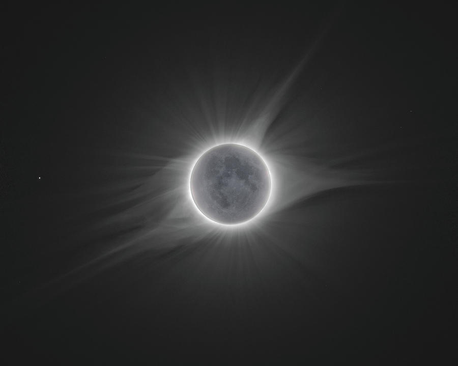 Eclipse Photograph - 2017 Eclipse With Earth Shine by Dennis Sprinkle