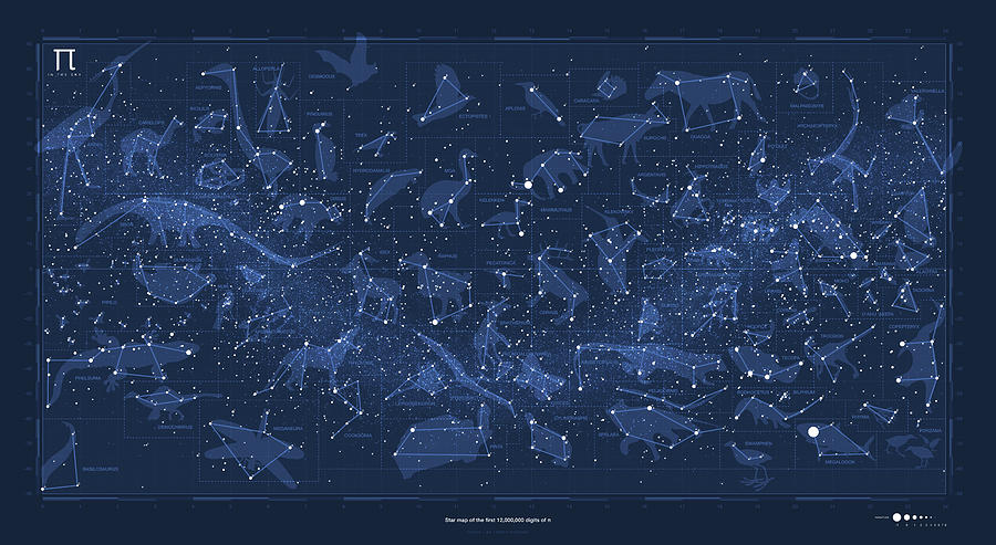 Pi Day Star Chart Carree Projection Digital Art By Martin