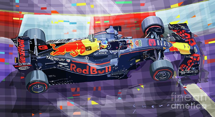 Automotive Digital Art - 2017 Singapore Gp Red Bull Racing Ricciardo by Yuriy Shevchuk