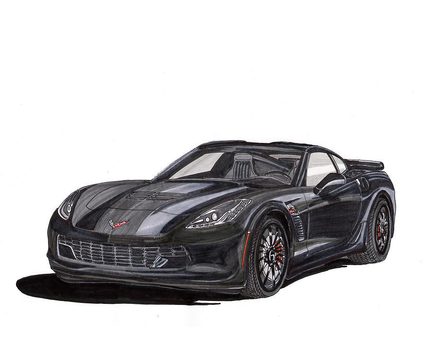 American Muscle Painting - 2017 Triple Black Corvette by Jack Pumphrey