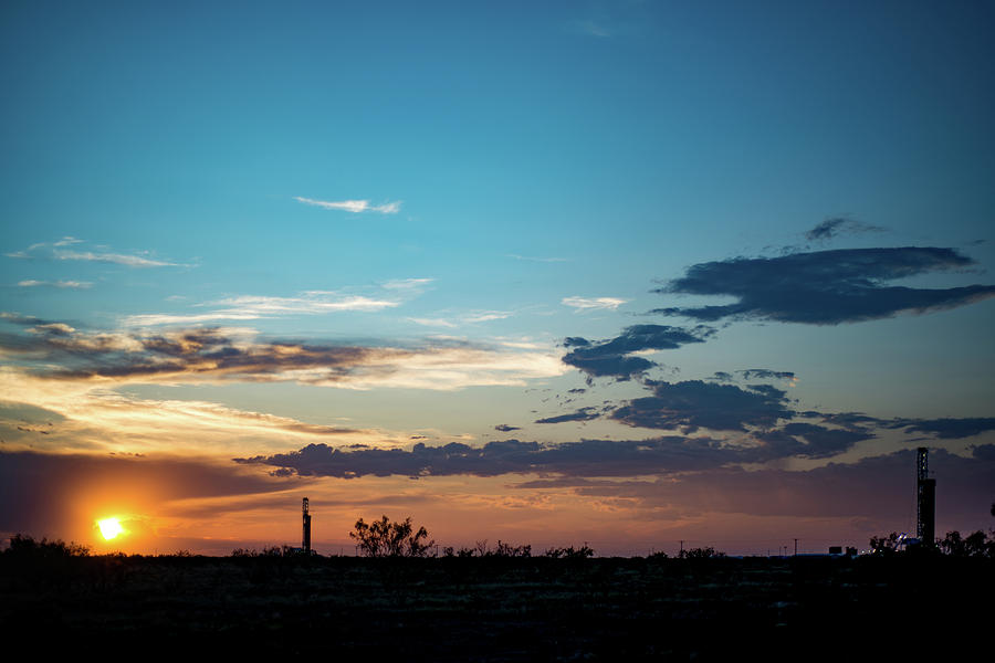 Oil And Gas Photograph - 2017_09_midkiff Tx_rigs At Sunset 1 by Brian Farmer