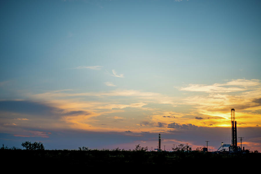 Oil And Gas Photograph - 2017_09_midkiff Tx_rigs At Sunset 3 by Brian Farmer