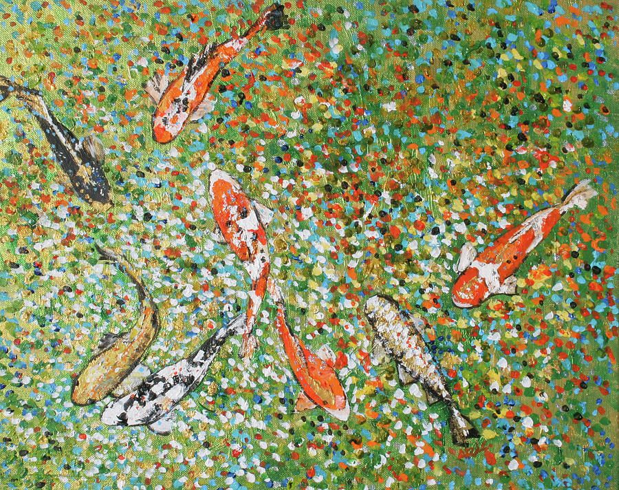 Sparkle Painting - 201725 Koi 3 by Alyse Radenovic