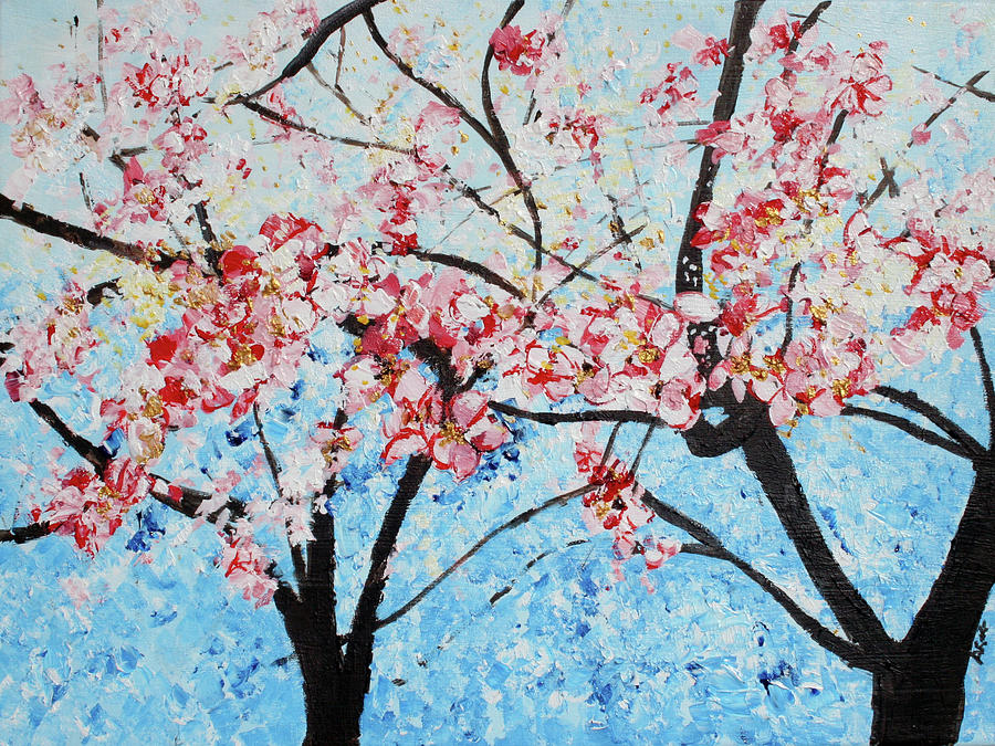 Bright Blue Painting - 201726 Cherry Blossoms by Alyse Radenovic