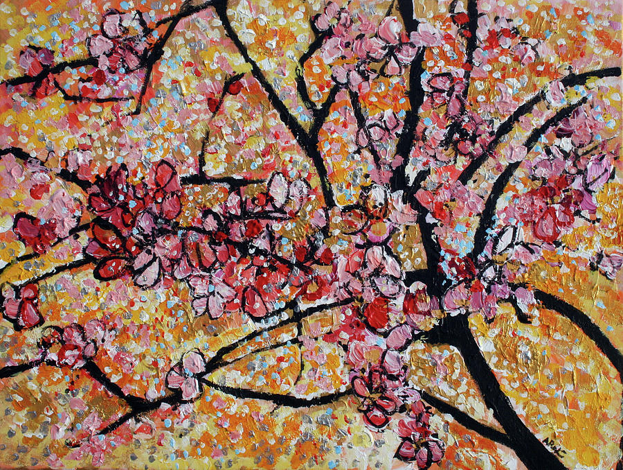 Flowers Painting - 201727 Cherry Blossoms by Alyse Radenovic