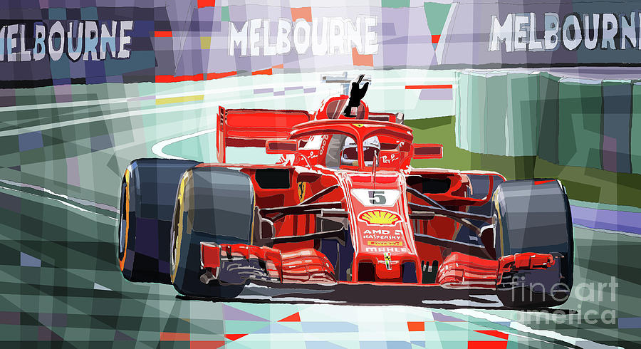 Automotive Mixed Media - 2018 Australian GP Ferrari SF71H Vettel winner  by Yuriy Shevchuk