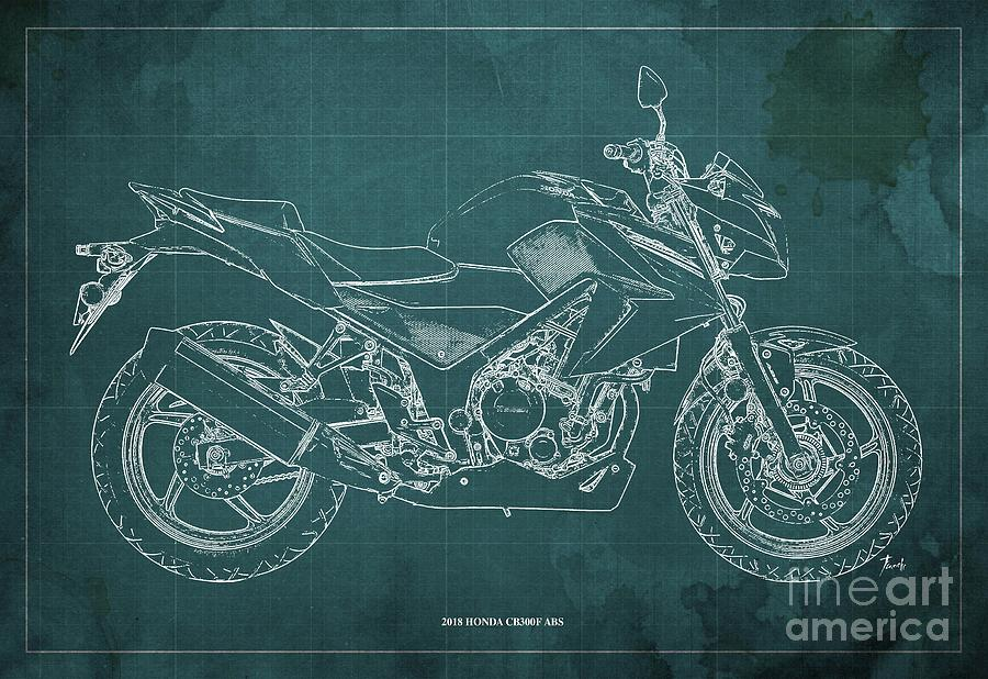 Blueprint Digital Art - 2018 Honda Cb300f Abs Blueprint Green Background by Drawspots Illustrations