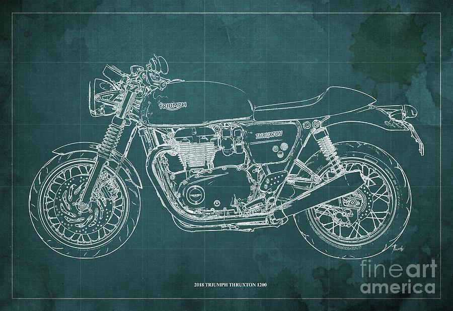 Blueprint Digital Art - 2018 Triumph Thruxton 1200 Blueprint Green Background by Drawspots Illustrations