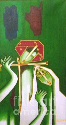 Oil Painting - 206-radha Krishna Slim by Sd Chopra