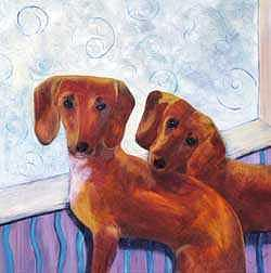Dachshund Painting - Rosie And Charlie by Cherri Lamarr