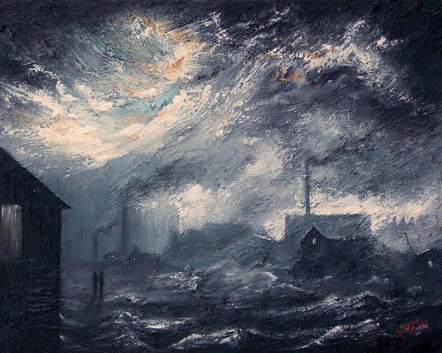 20th Century Industrial Landscape Painting By M P Elliott British