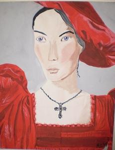 Renaissance Painting - Lady In Red             Original by Christine Ward