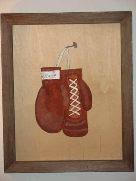 Sports Painting - Old Gloves by Dave Raya