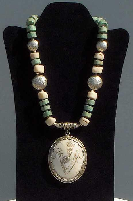 Turquoise Jewelry - Antique Carved Tibetan Pendant Necklace by Eleanor Love