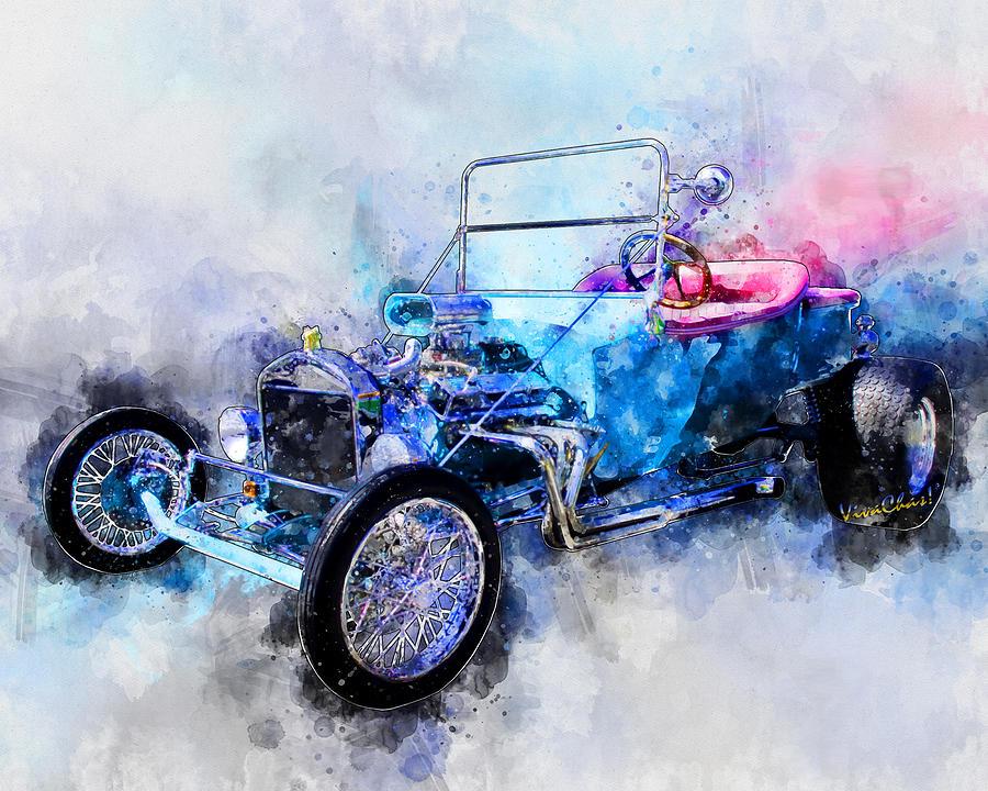 23 Model T Hot Rod Watercolour Illustration Digital Art by Chas Sinklier