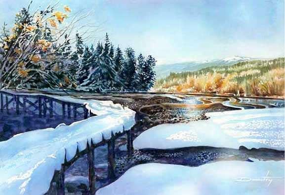 Snow Blanket Over Shoreline Park Painting by Dumitru Barliga