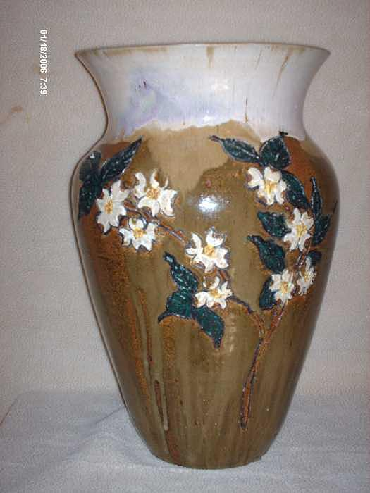 Stonewear Dogwood Floor Vase Ceramic Art by The Joppa Crew