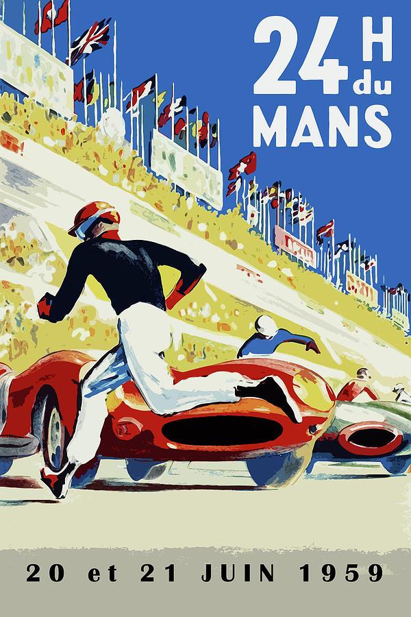 24 Hour Le Mans Photograph - 24 Hour Le Mans 1959 by Mark Rogan