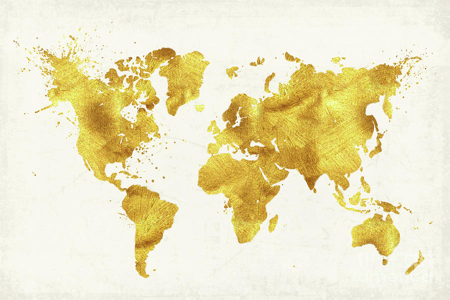 24 Karat World, Gold World Map Painting by Tina Lavoie