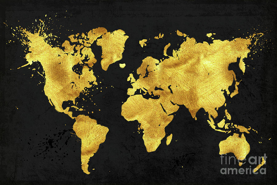 Karat World In Black Gold Metal World Map Painting By Tina Lavoie - Black and gold world map