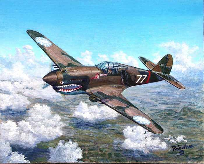 China Painting - Flying Tiger over China by Scott Robertson