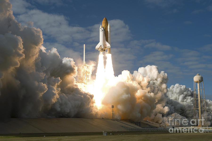 Taking Off Photograph - Space Shuttle Atlantis Lifts by Stocktrek Images