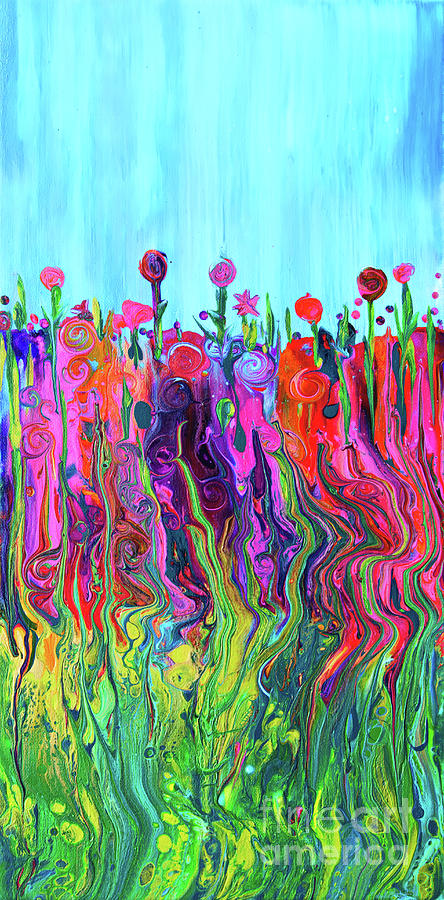Colorful Flowers Painting - #2555  HappyLittle Garden by Priscilla Batzell Expressionist Art Studio Gallery