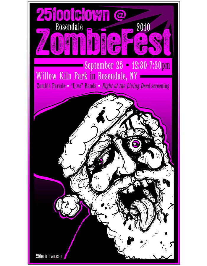 Poster Drawing - 25footclown Zombiefest Poster by Christopher Capozzi