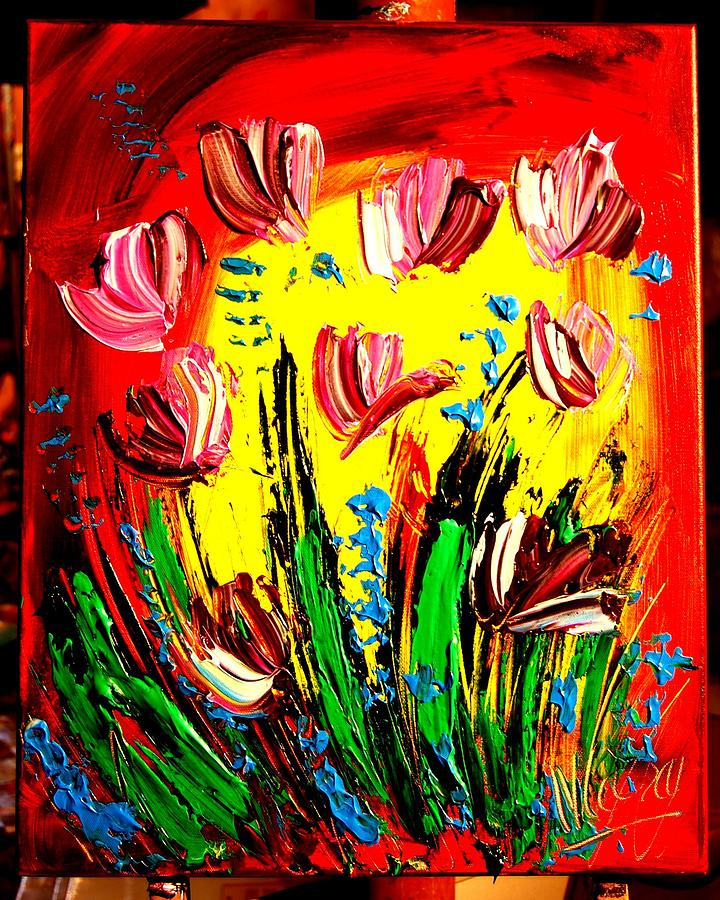 Woman Greeting Cards Painting - Tulips by Mark Kazav