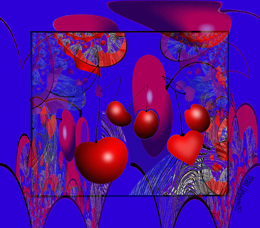 2613 Cherry Fractal 2018 Digital Art by Irmgard Schoendorf Welch