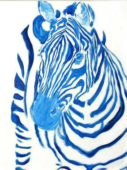 Blue Zebra Painting - Feeling Blue by Cherri Lamarr