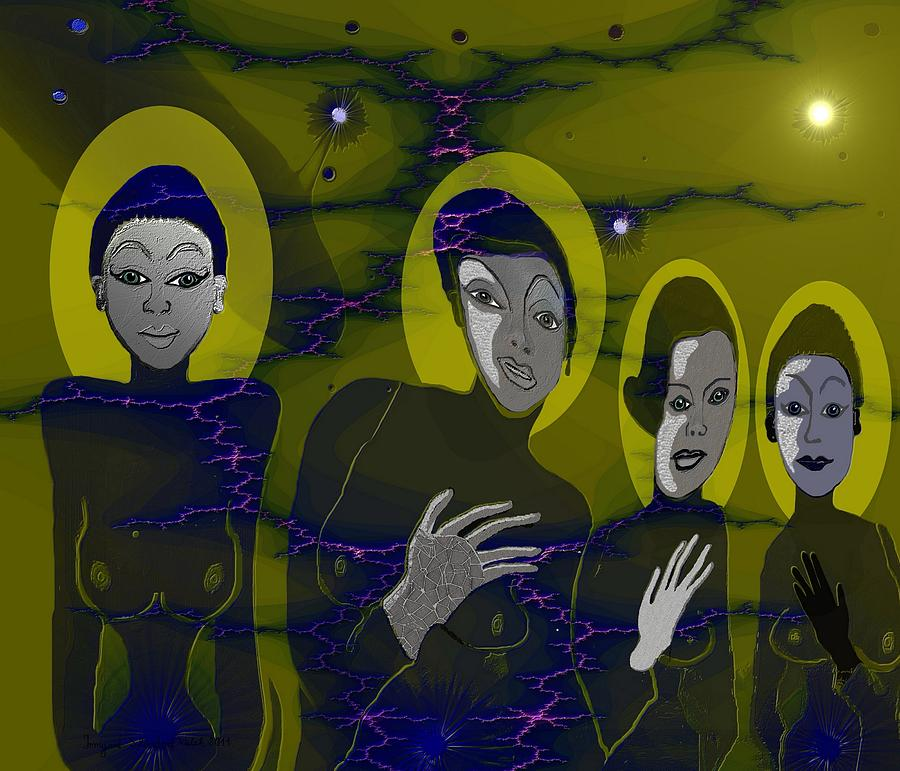Alien Digital Art - 263 - Friendly Neighbours by Irmgard Schoendorf Welch