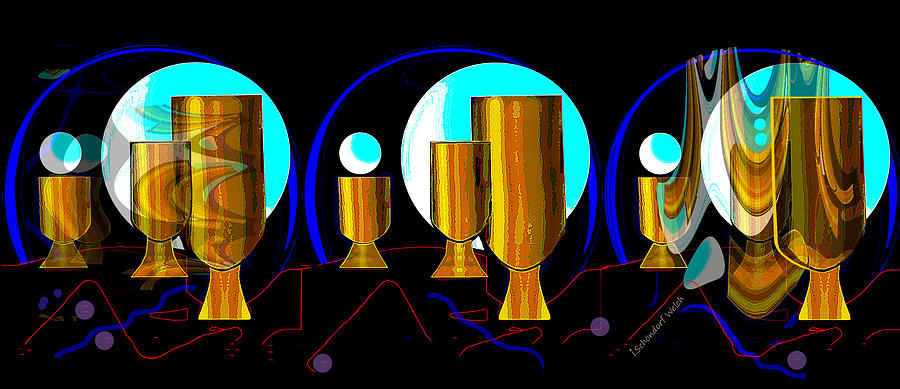 2664 Golden Goblets Patterns 2018 Digital Art by Irmgard Schoendorf Welch