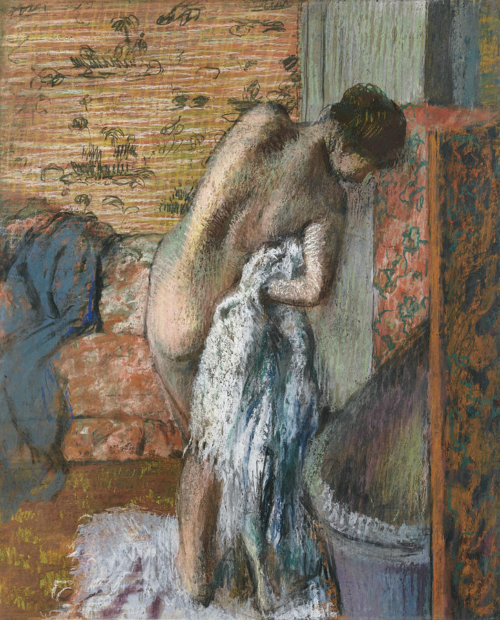 French Painters Painting - After The Bath by Edgar Degas