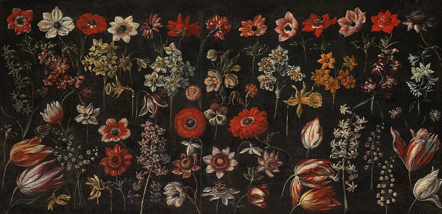 Florentine School Painting - Flowers by MotionAge Designs