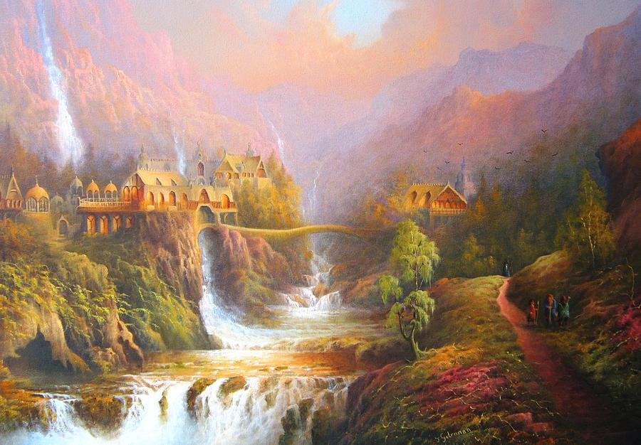Lord Of The Rings Painting - Rivendell, Lord Of The Rings Inspired Artwork. From The Magical Realm by Ray Gilronan