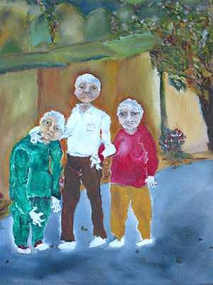 Three Friends Painting - Hanging Out Together by Padma Prasad