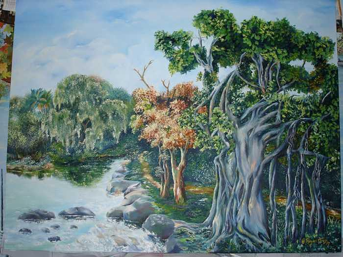 The Everglades Old Vanian Tree Painting by Gloria Reyes Diaz