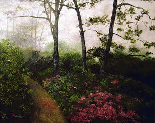 Landscapes Painting - Azaleas by Lizbeth Gage