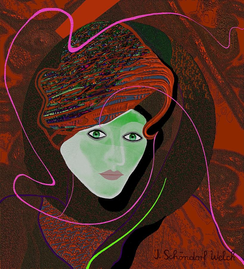 Deco Painting - 289 - Anna  With  Dark Red Cap by Irmgard Schoendorf Welch