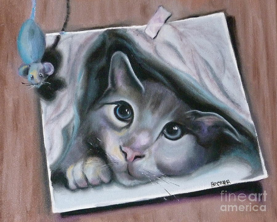 Cat Painting - 2cute by Susan A Becker
